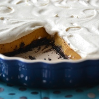 Pumpkin Chiffon Pie with a Double-Chocolate Crust