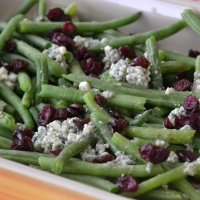 Green Beans with Cranberries and Blue Cheese