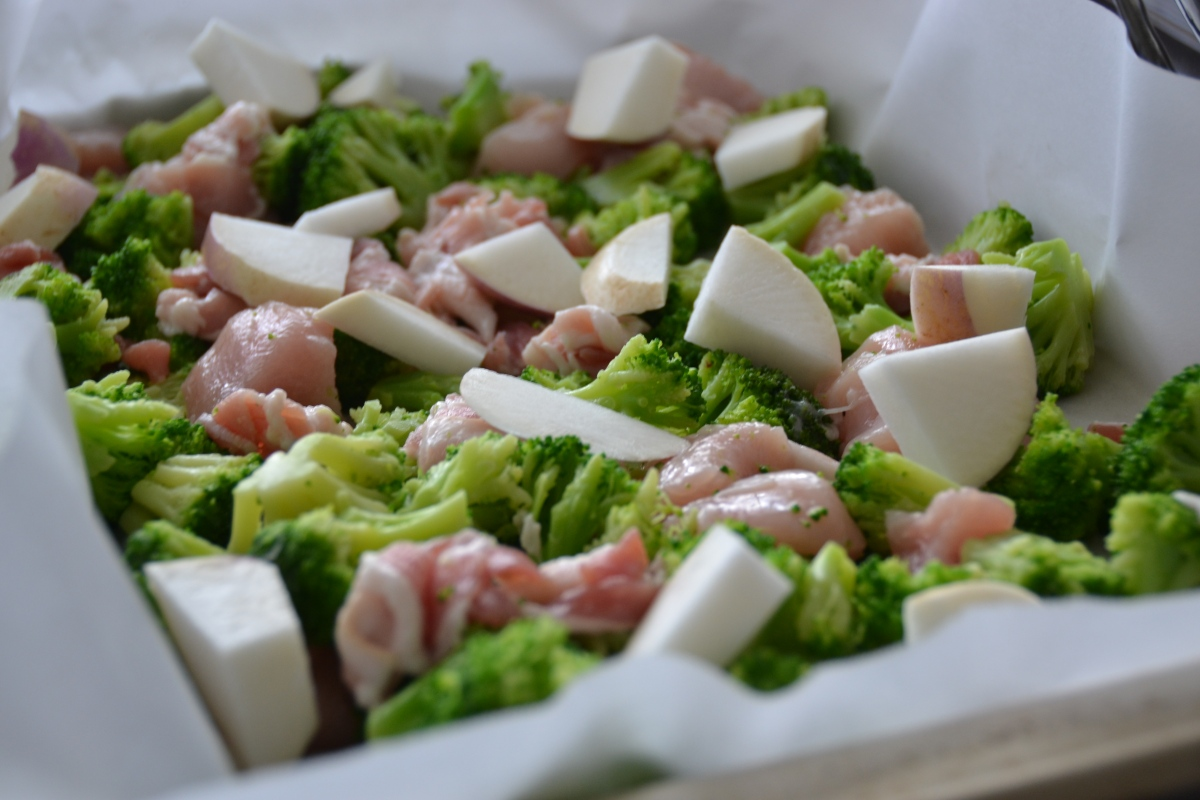 Roasted Turnips, Bacon, Broccoli and Chicken