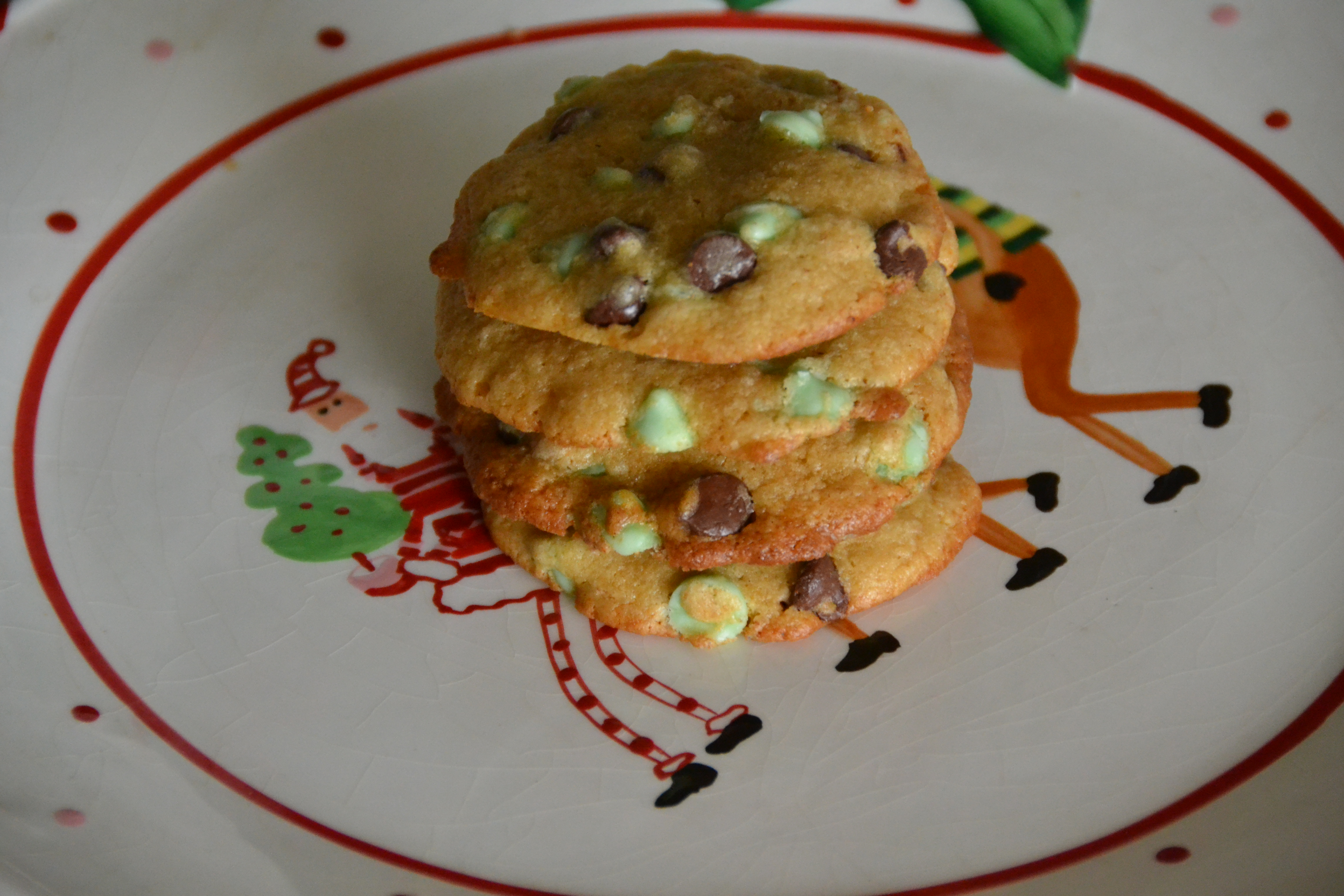 Mint Chocolate Chip Christmas Cookies | Sally Cooks