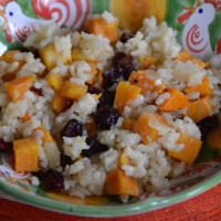 Baked Risotto with Roasted Butternut Squash and Dried Cranberries