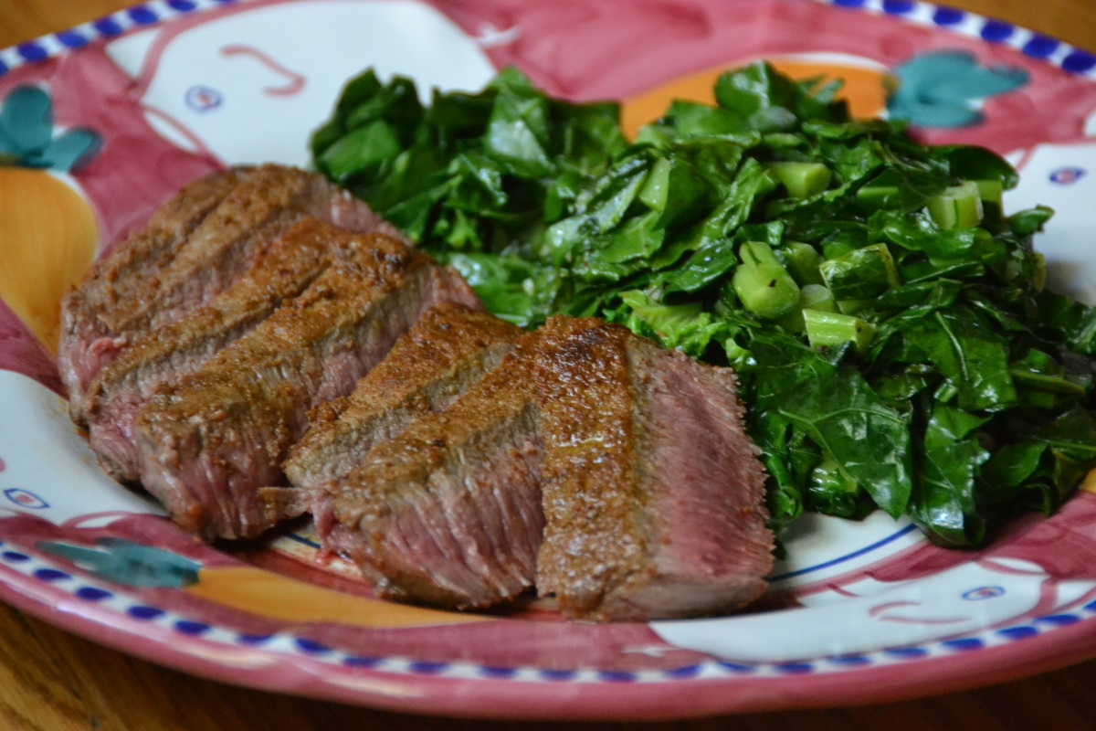 Spice-Rubbed Steak with Garlicky Collard Greens