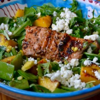 Grilled Salmon and Peach Summer Salad