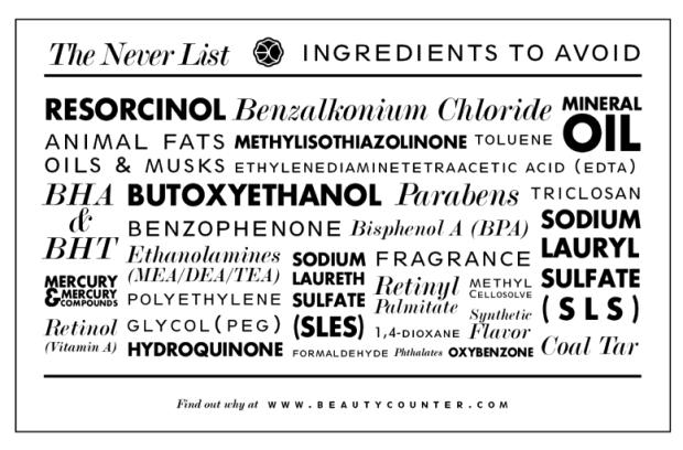 The Never List by Beautycounter.com | via thenotepasser.com